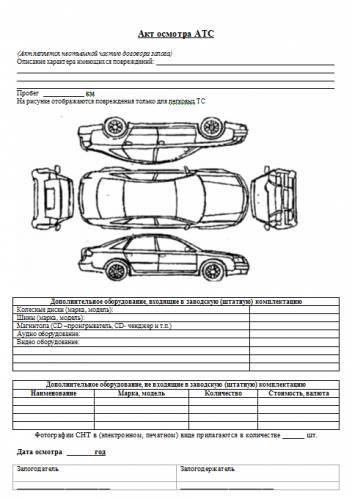 бланк акта осмотра автомобиля бланк