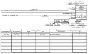 Образец документа: Форма акта приемки сырья.